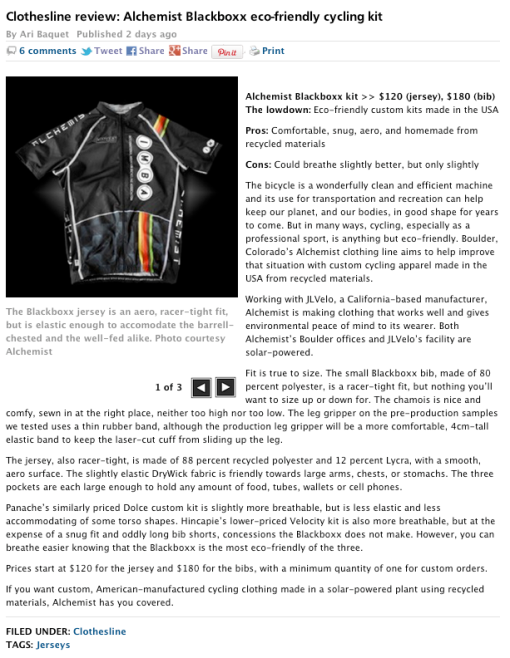 Alchemist HOMEGROWN BLACKBOXX review in Velonews