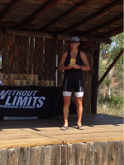 Heather winning the Xterra Lory