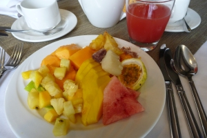 Breakfast in Arusha.  Not exactly roughing it.