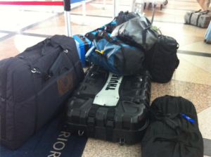 Mountains of gear heading to Kilimanjaro.  Bikes and Medical supplies.  Plus, hotwheels and crayons for the local kids.