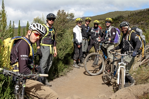 Kili bikers taking a break