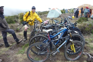 Stuart guarding the bikes. Bonty at the front.