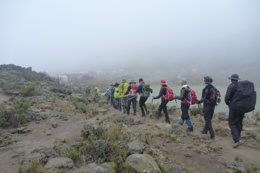 Another foggy approach into Camp. We are walking in clouds at this altitude
