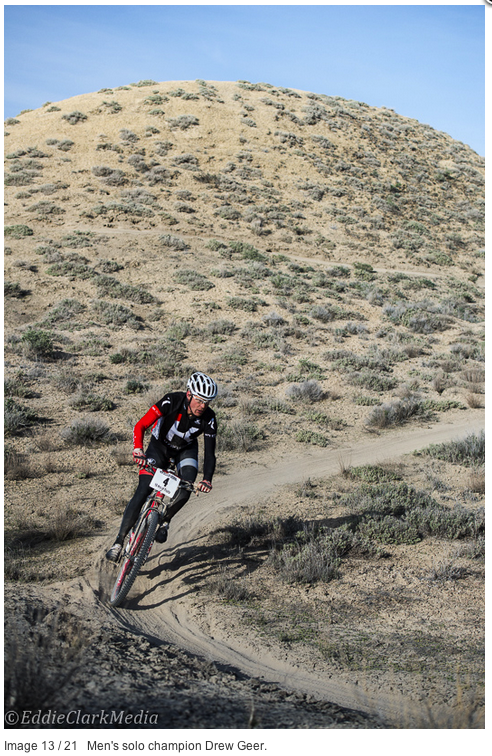 Drew carving a turn, and a win, at the 18 Hours of Fruita.  Photo by Eddie Clark and hijacked from Mountain Flyer.