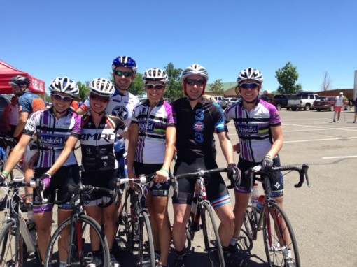 Sean B. gets busy at the Ride the Rockies with the Naked Women Race Team. Kris in an Alchemist made 303Cycling Kit joins in the fun.