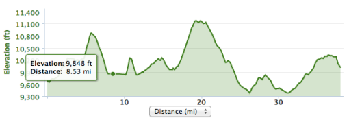 Colorado Trail Stage.  See that fang at around 11 miles?  That one hurt.