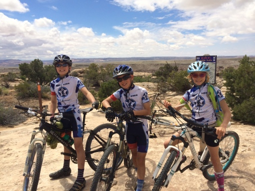 Max, Luke, and Ruthie stylin  the Team kit and rocking Moab.