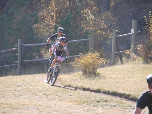 Here is Max in 4th place.  He got passed shortly after this pic, but then climbed back onto the podium for the final lap.