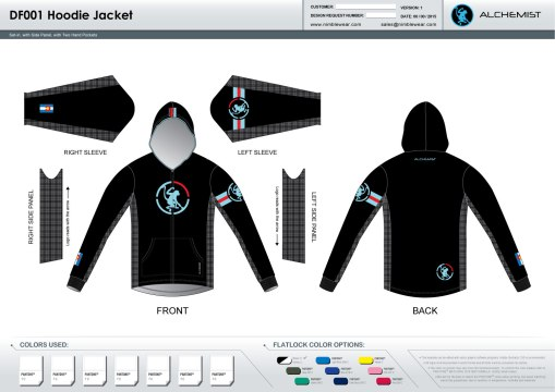 Fluoco Tech Hoodie.  Full Zip.  Casual fit.  I suggest ordering a size down if you like it more fitted.  I wear a large kit, but medium hoodie.
